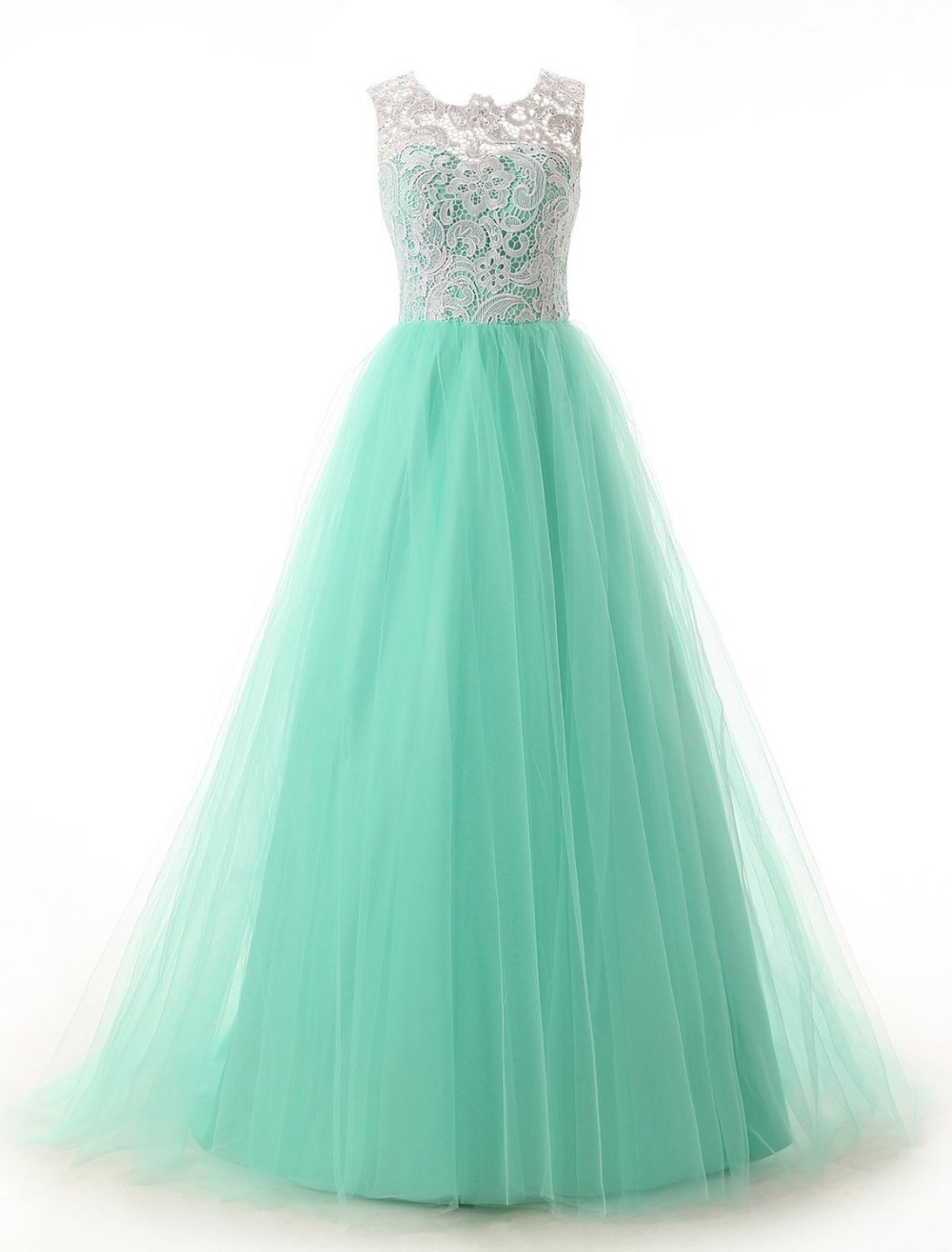 Newest Elegant A line Ivory Lace Turquoise Tulle Prom Dress Long 2015 Hot Sale Lace Formal Evening Dresses