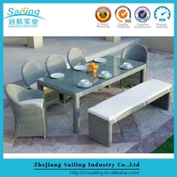 Simple Style 8 Seater Wicker Dining Table And Chair Group For Kids