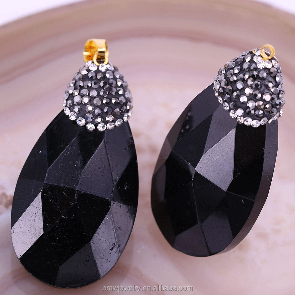 Classical Black Waterdrop Crystal Glass Wrapped Rhinestone Pendant For Women DIY Bracelet Accessories