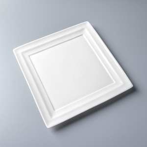 8-14 inch China dinnerware supply good price creative design city hotel white porcelain square plate restaurant ceramic