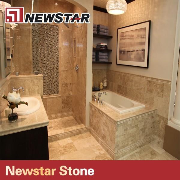 Newstar pulido ba o descuento beige travertino ducha for Colores de marmol para banos
