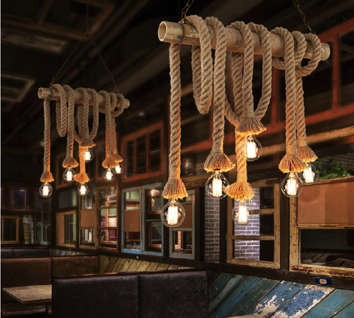 Country Home Decor Wholesale: Vintage Rope Pendant Lights Lamp Loft Creative Personality
