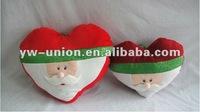 45cm 35cm Soft Plush Christmas Santa Clause Head Heart Pillow Toy