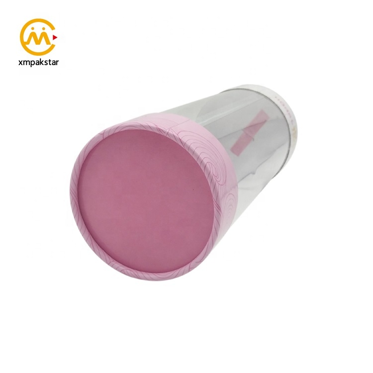 Fancy pink paper cosmetic packing round cardboard tube packaging gift boxes with window