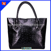 Competitive factory price fashion Ostrich leather bag for women,lovely design ostrich embossed leather handbags,ostrich leather