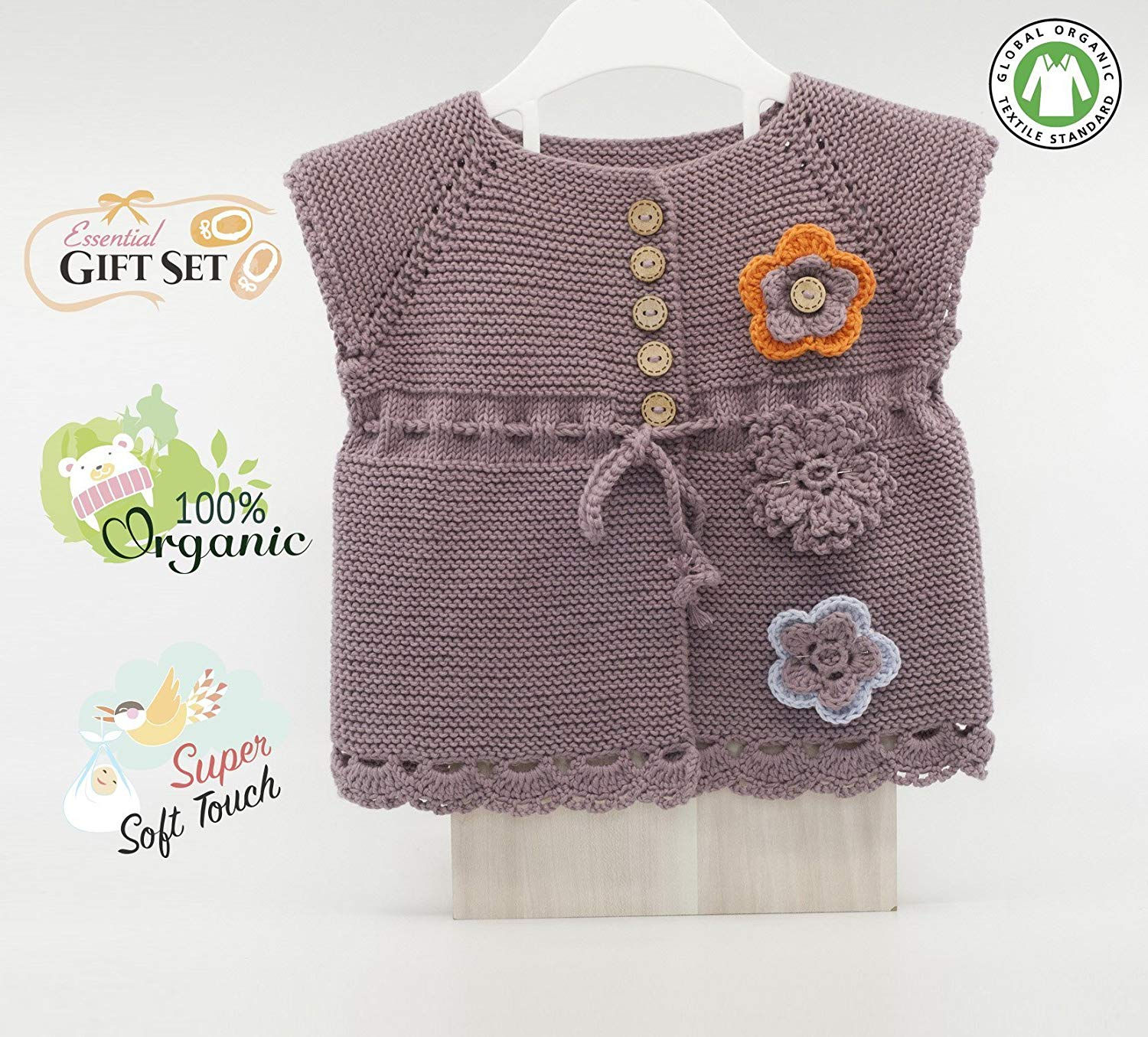 Baby Girl Sweater for Summer - 3 Flowers Set -%100 Organic Cotton