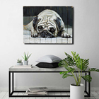 Adorable pug painting wall art 3d new year decoration dafen oil painting