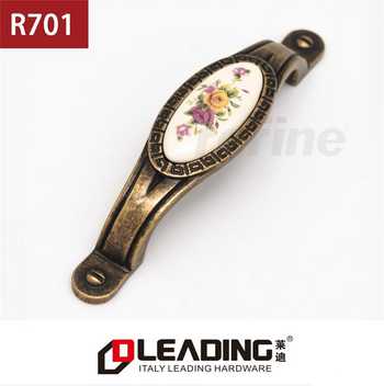 Beautiful Flower Designed, 96mm/128mm, Ceramic Vintage Bronze Drawer Pull Handle