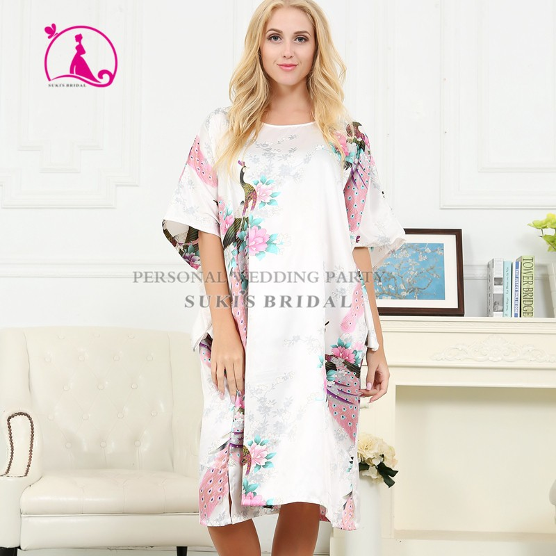 a715b9ee3f Wanita sutra satin piyama lingerie pakaian tidur kimono gaun baju tidur  jubah panjang putih