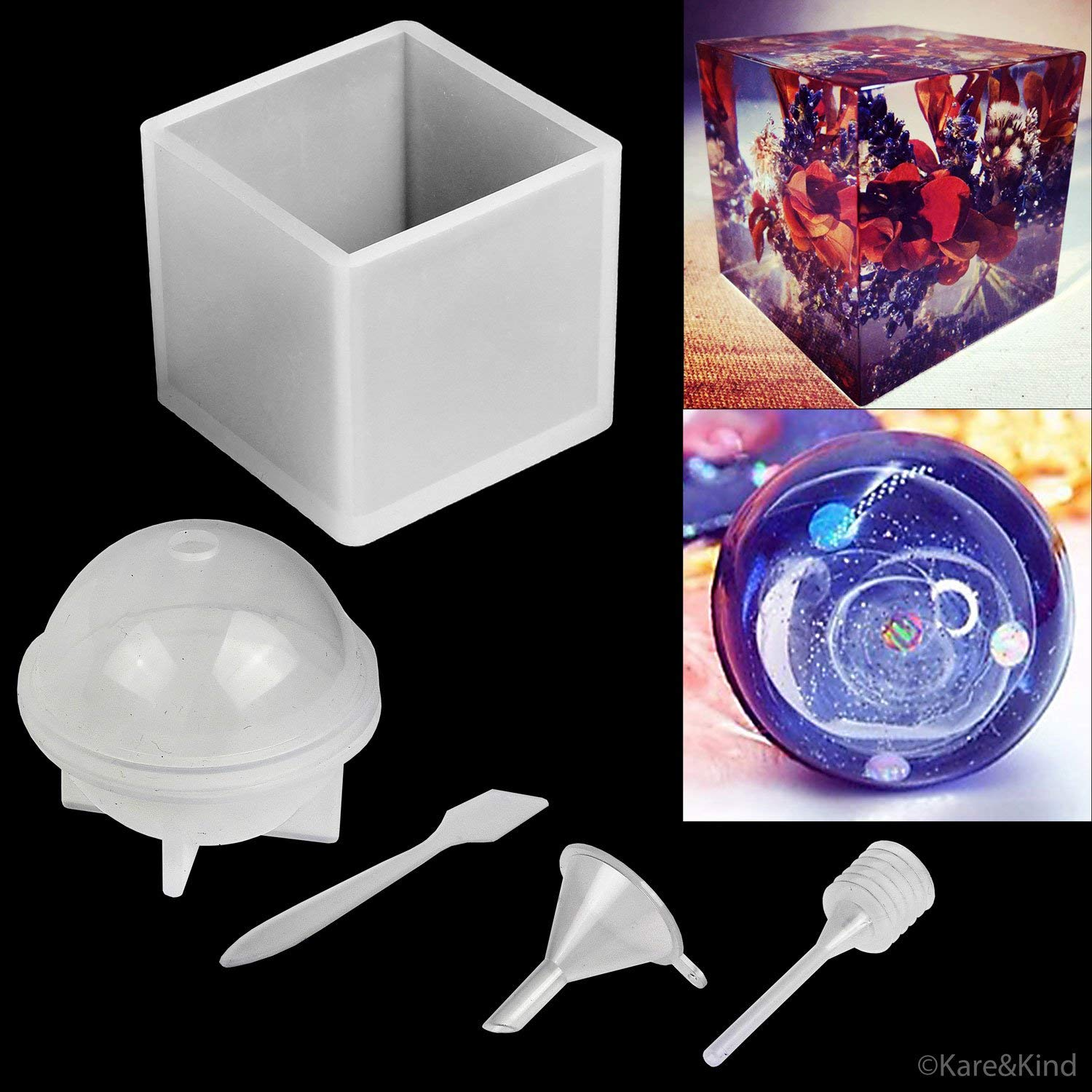 Polymer Clay / Resin Epoxy Molds - Set of 2 Silicone Shapes - Cube / Sphere - Create Your Own Clear or Opaque Objects - Easy to Remove After Molding - Soft, Durable, Reusable - Jewelry, Candles, Soap