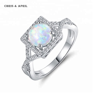 Square Natural Diamond Opal Engagement Rings Jewelry