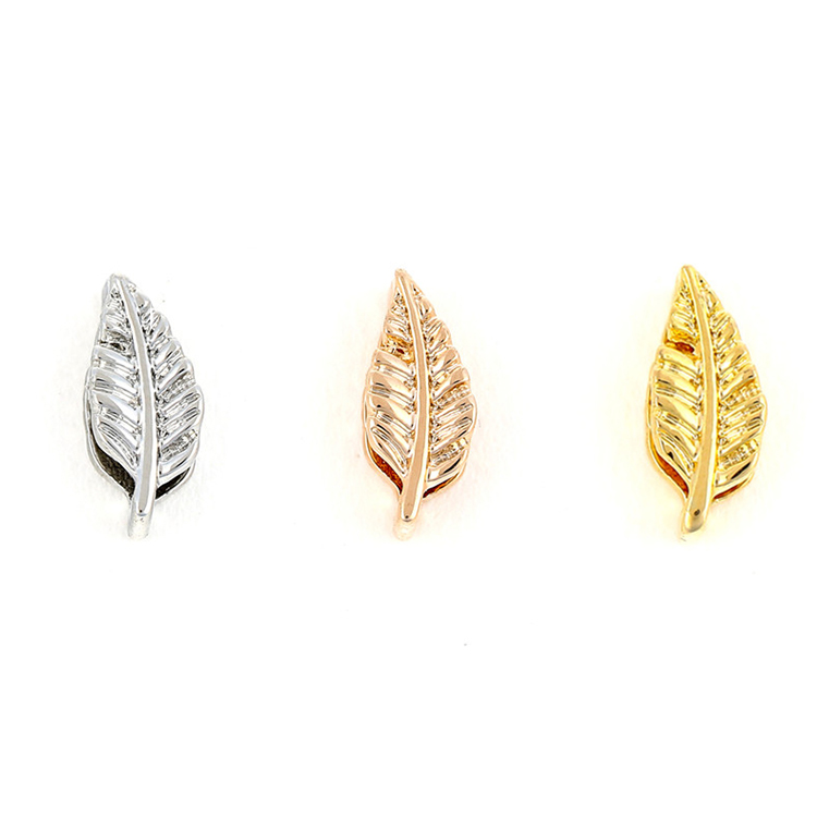 New Products Custom Three Color Crystal Leaf Charm For Bracelet