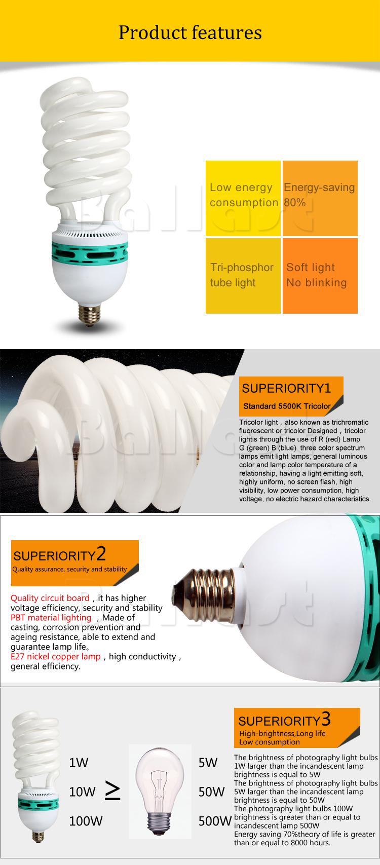 85w Half Spiral Cfl Lamp Parts Tricolor