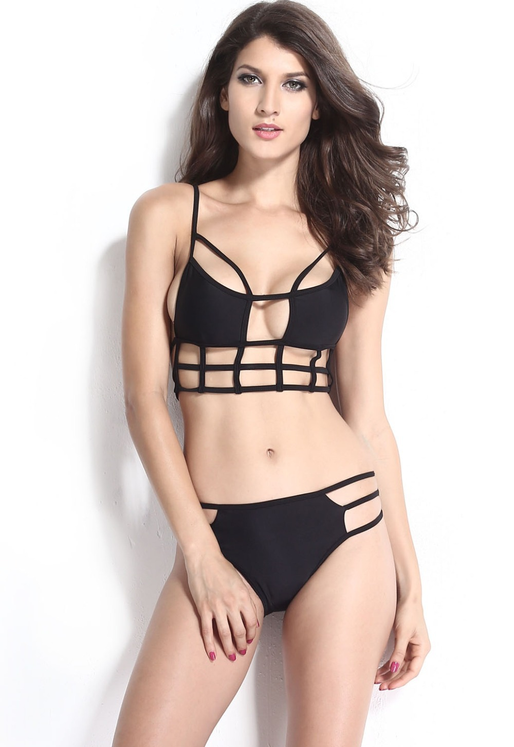 a0f5d32b20a08 Get Quotations · Latest 2015 Sexy Swimwear Women Strappy Bikini Multi  String Black White Bandage Swimsuit Push Up Bikini