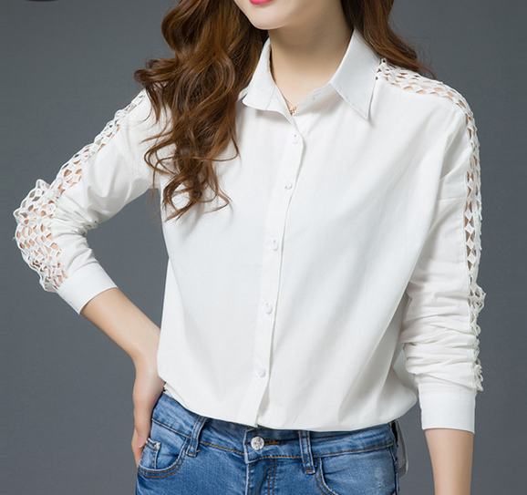 EY1147B wholesale clothing new fashion women long sleeve <strong>cotton</strong> <strong>blouse</strong>