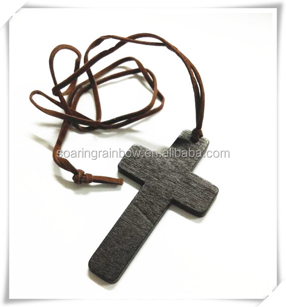 Chinese Design Long Rope Wooden Cross Pendant Necklace