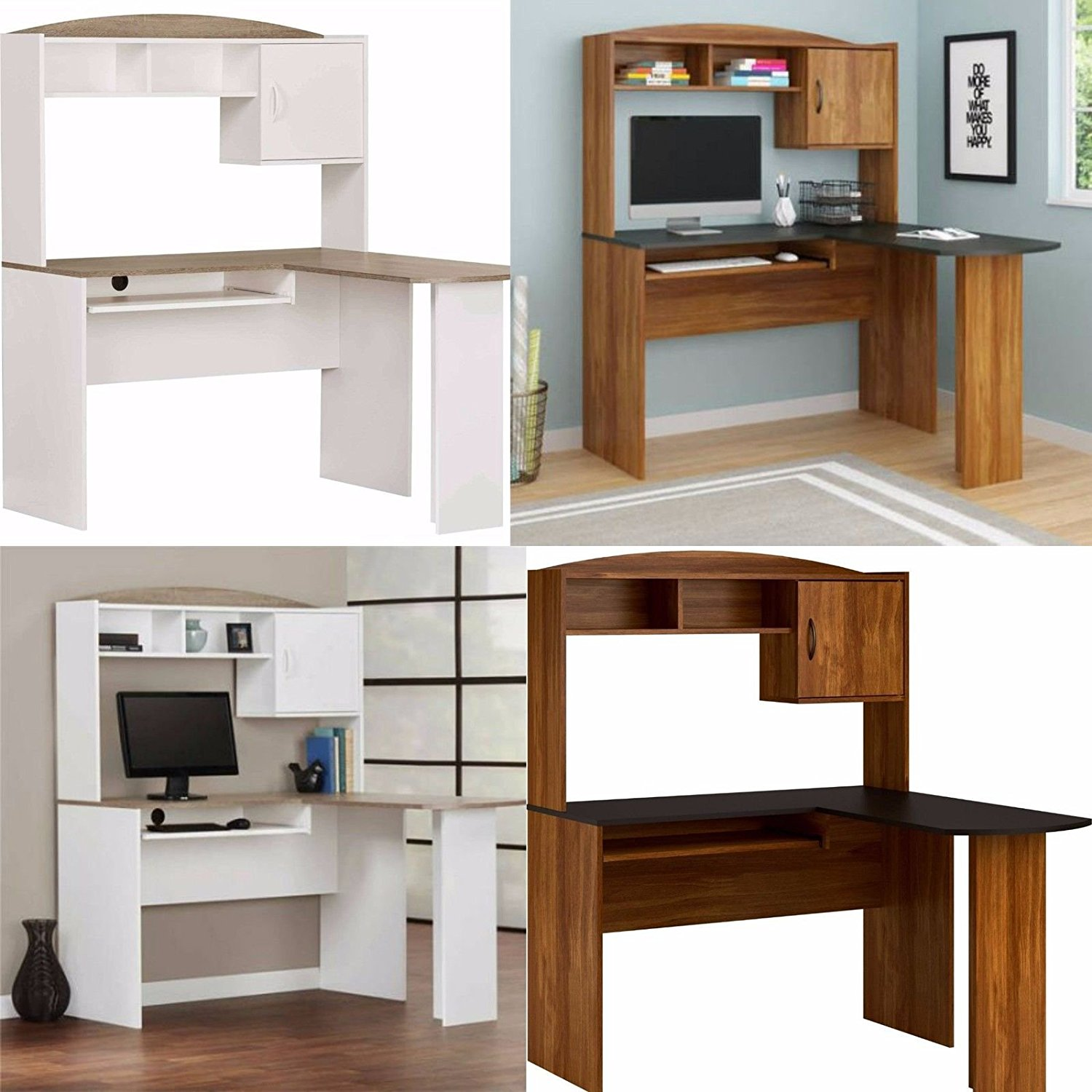 Office Mainstays L Shaped Desk With Hutch, Multiple Finishes Wood Computer  Desk