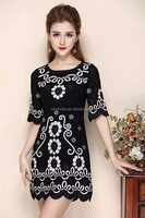 Plus size fashion Indian design liyuan style embroidery printed women dresses