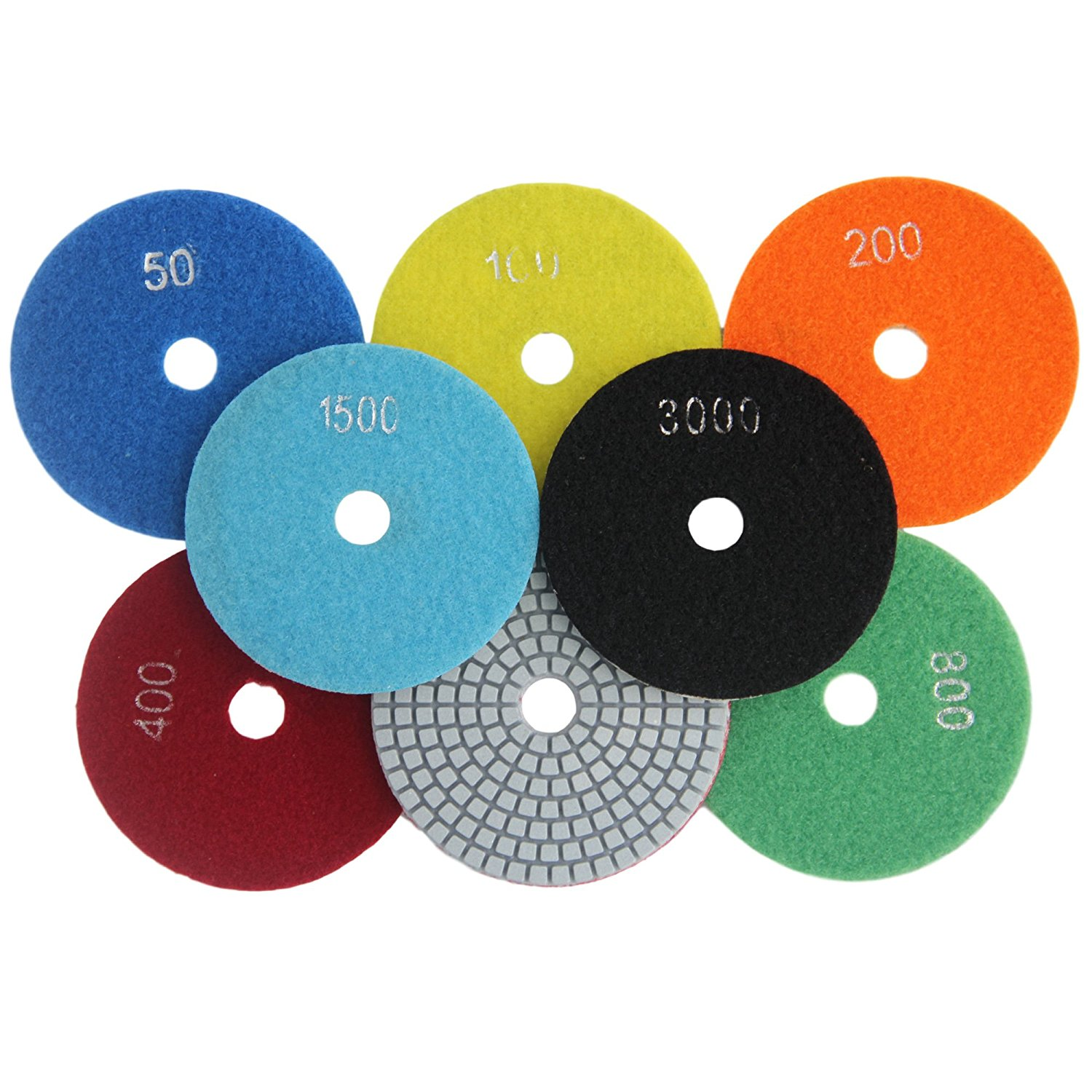 Konfor 3 Inch Diamond Wet Polishing Pads Tool Set 7 Piece for Grinding Marble Granite
