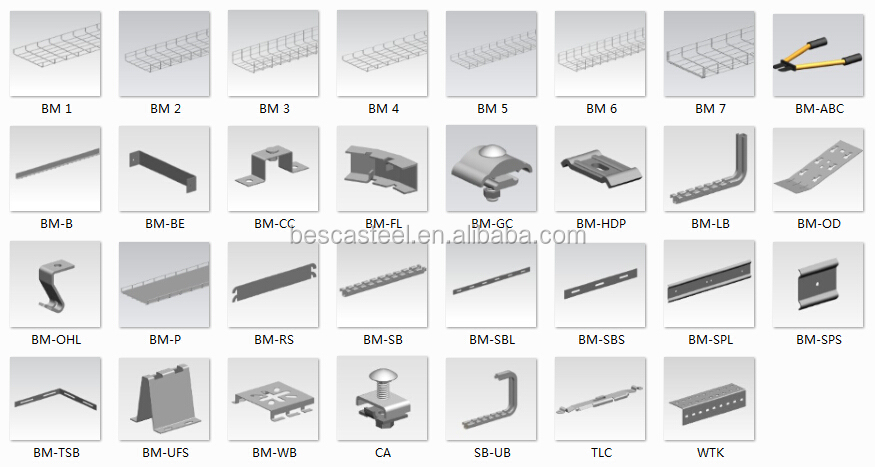 Bm6 Wire Mesh Cable Tray / Wire Basket Cable Tray Height=100mm ...