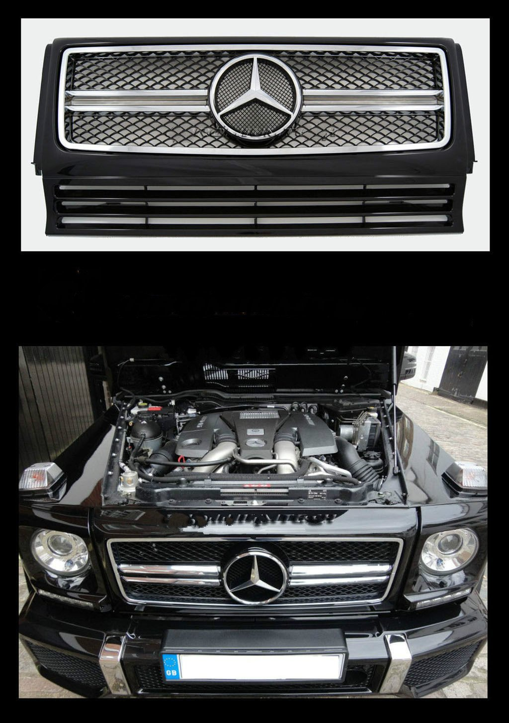 Gosweet 2002-2014 Glossy Black Mercedes BEN G-Class W463 W461 Air Grille Grill G55 G65 G500 G320 G400 AMG BLACK G63 Style Version US Fast Shipment