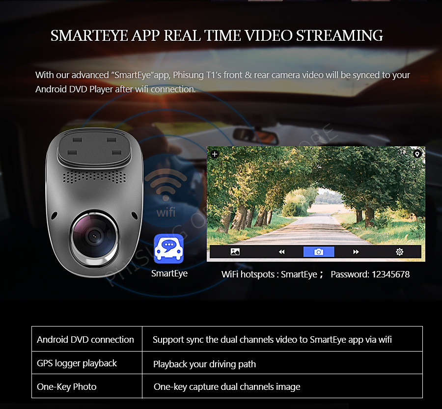 Phisung T1 FHD 1080p car camera Dual Channels dash cam 4G WIFI ADAS App gps track remote monitor