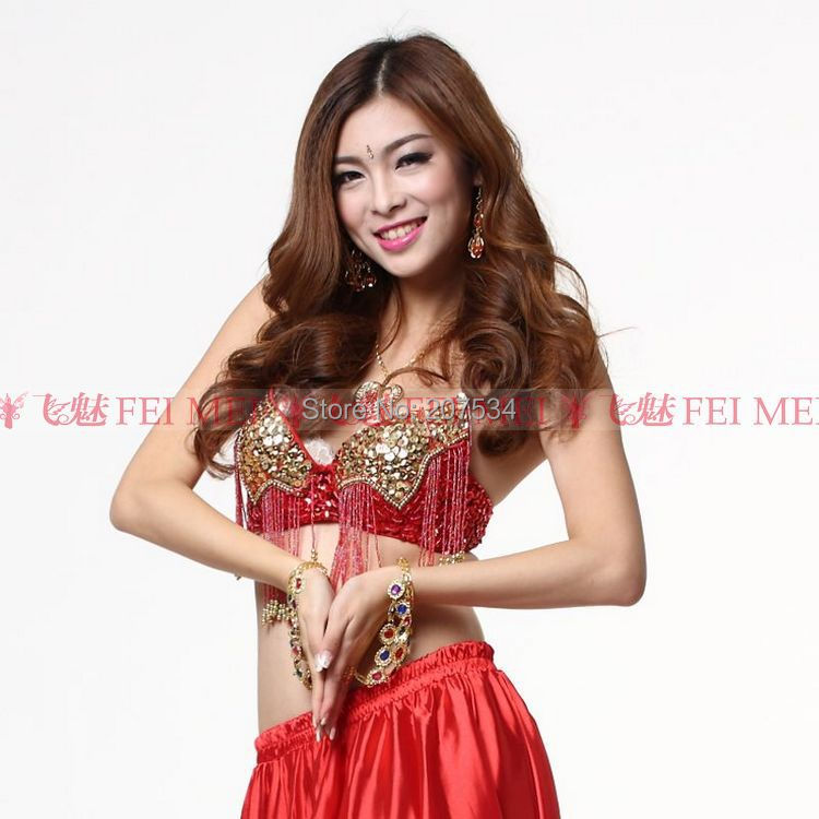 0504c913600e5 Get Quotations · Wholesale Women s new belly dance dancing wear costume  beads bra golden beads bra sexy gypsy bra