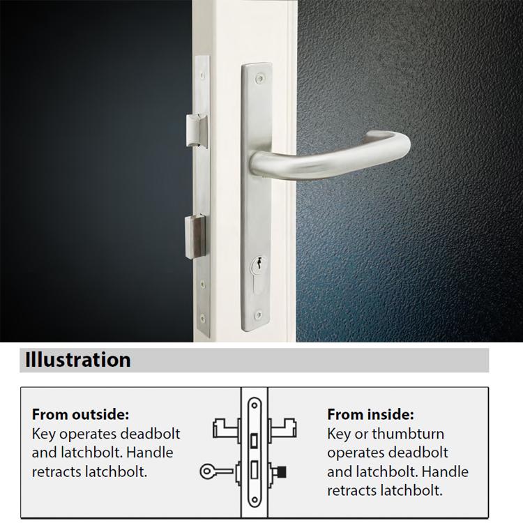 Narrow stile mortice door lock for profile door