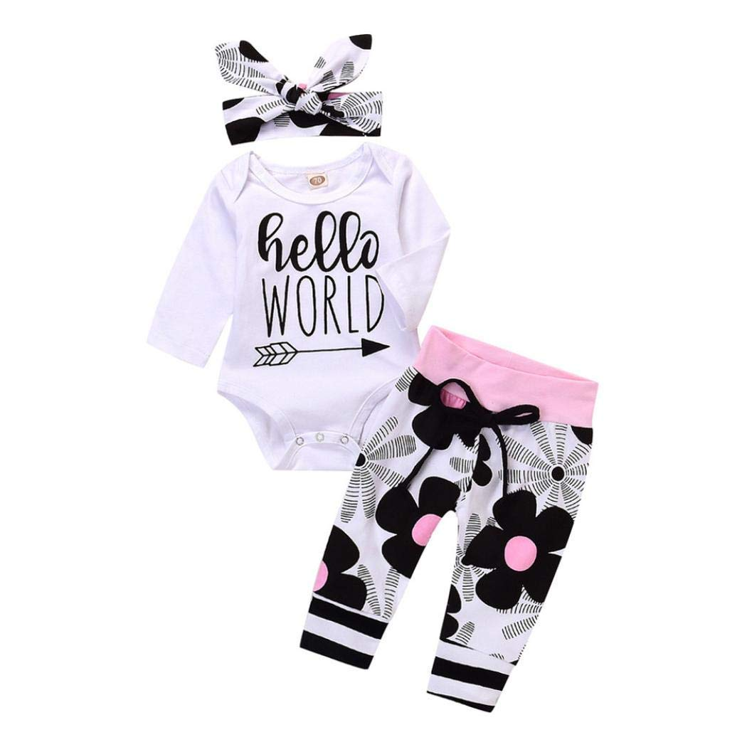 Dacawin 3PC Toddler Infant Girls Letter Floral Print Romper Baby Jumpsuit Pants Outfits Set(6M-24M)