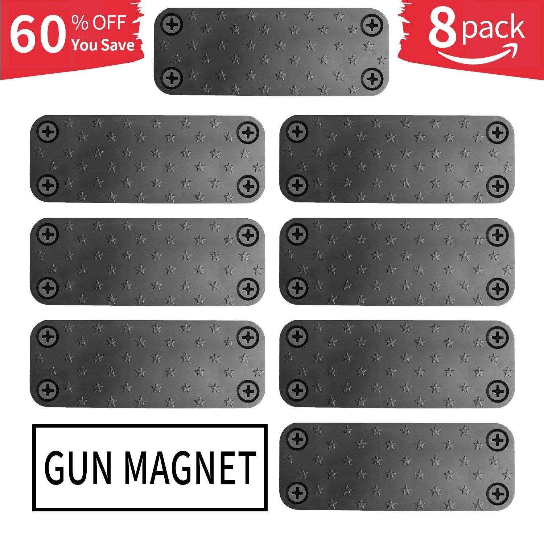 Gun Magnet 8-Pack   Rubberized 40 lbs Rated Magnetic Gun Magnet   Gun Magnet Mount-Concealed Gun Holder for Wall, Desk, Truck, Car, Handgun, Pistol, Rifle, Shotgun, Revolver