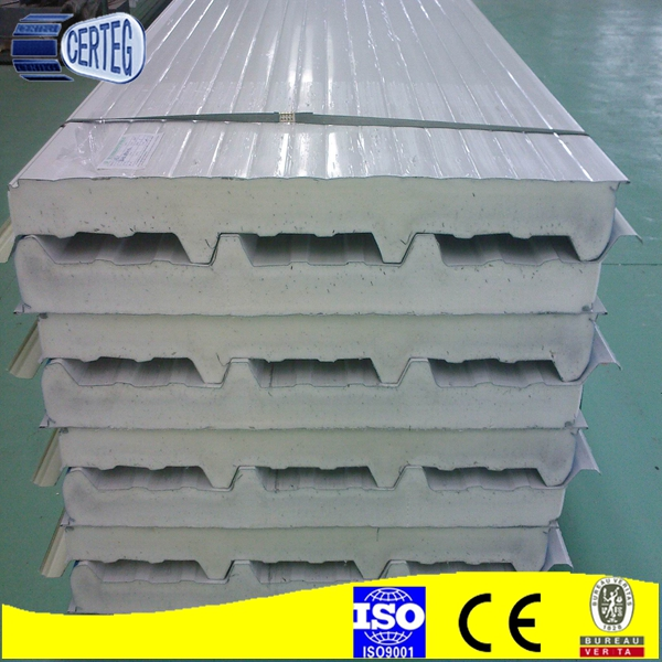 C100mm gauge polyurethane insulated sandwich roof panel competitive price