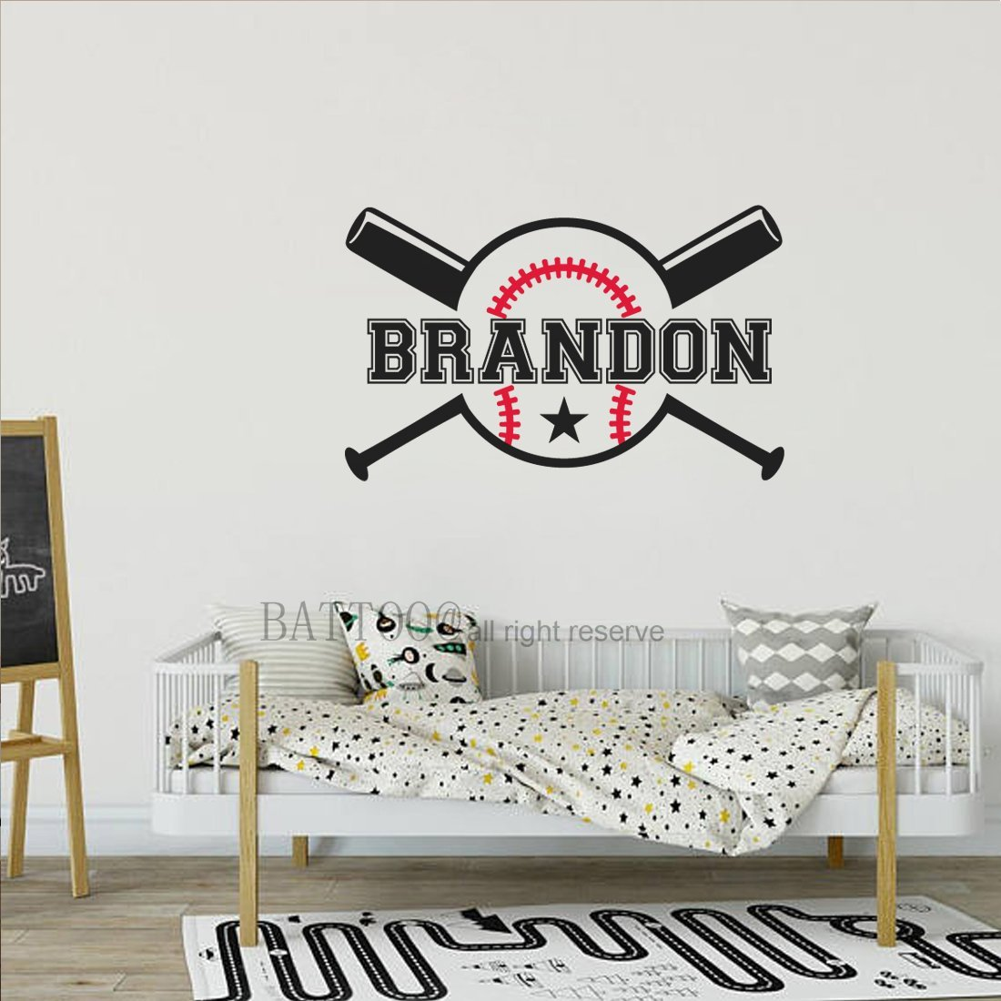 "BATTOO Baseball Name Wall Decal Girls Boys Name Wall Decal Personalized Wall Decal Kids Room Decor Custom Wall Decal Sports Theme Nursery Decor 16"" wide PLUS free hello door decal"