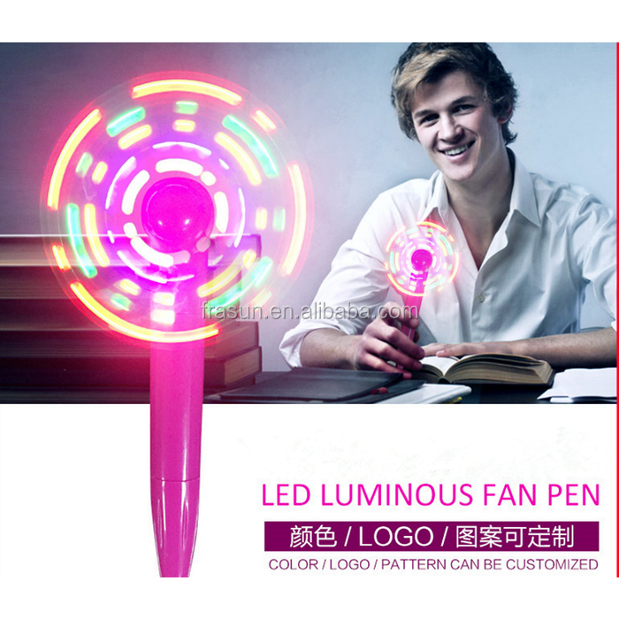 Led OEM letter colored light fan plastic ball pen for advertisement promotion