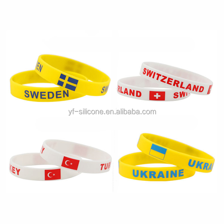 Custom Silicone National Flag Wristband For World Cup