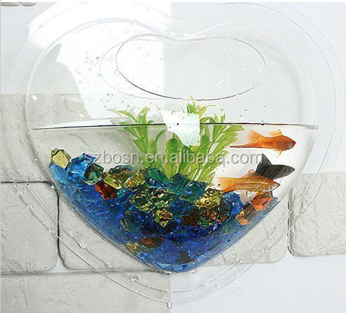 NEW Heart Shape Gold Fish Bowl, Wall Mount Acrylic Bubble Tank Aquarium 11 Inch