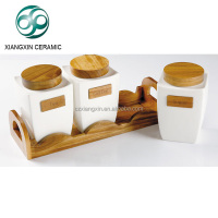 Unique set of 3 ceramic canister with wooden lid and rack,coffee sugar tea storage jar