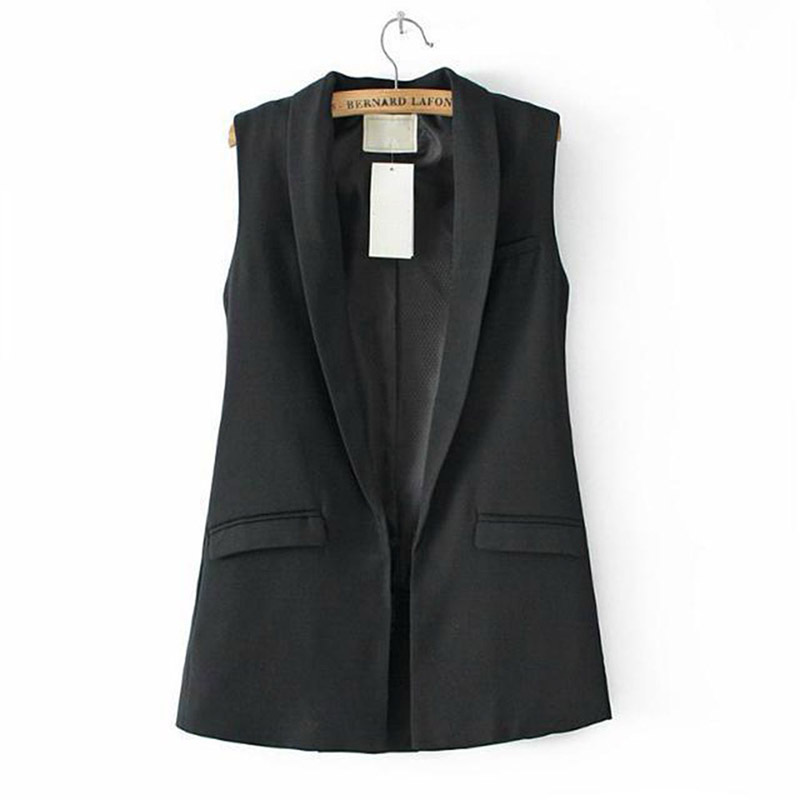 New Women Sleeveless Formal Long Vest V Neck Blazers Suit ...