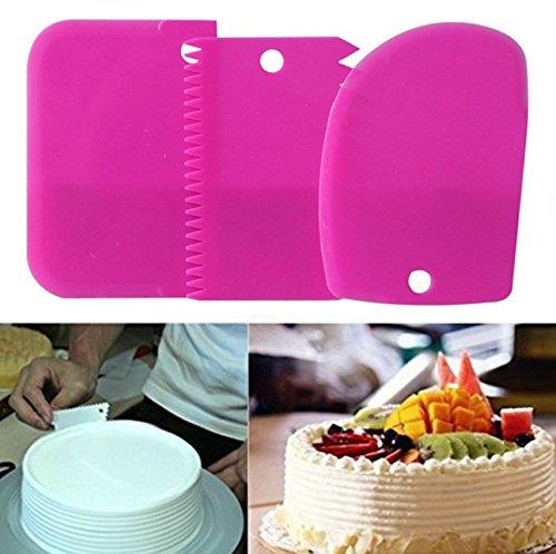 Cake Scraper 3pcs/set, KOOTIPS Smoother Comb Set Cake Edge Side Decorating Tools Scraper (Pink 3pcs set)