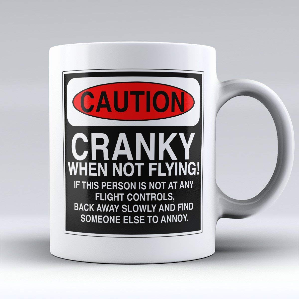 "Aviation & Pilot Mugs - Fly Boys Coffee Cup - Funny Aviation Pilot Gifts - ""Caution: Cranky When Not Flying"" - The Best Present for Any Pilot"