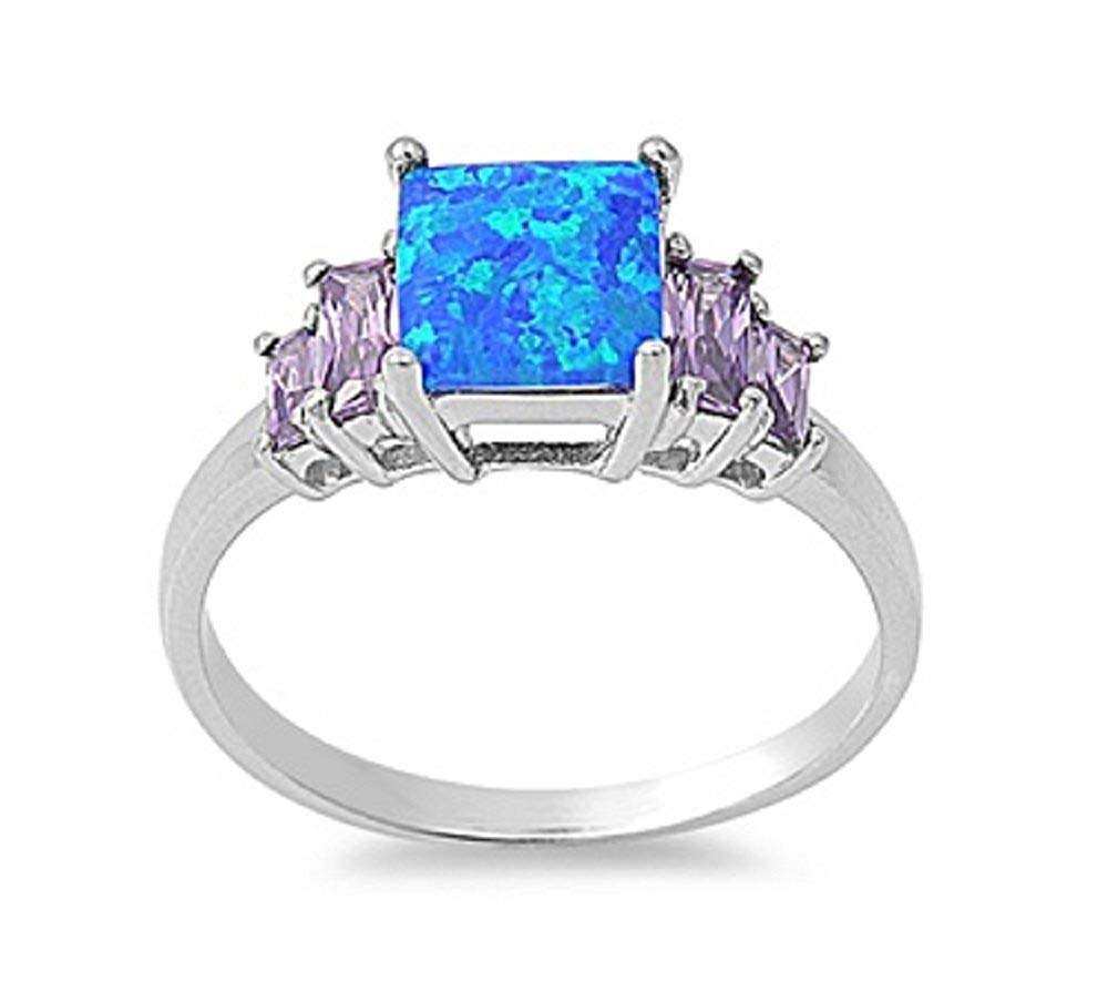 CloseoutWarehouse Princess Cut White Simulated Opal Center Cubic Zirconia Swirl Ring Sterling Silver