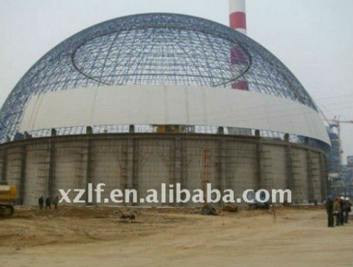 easy assemble prefabricated dome coal storage shed steel structure building