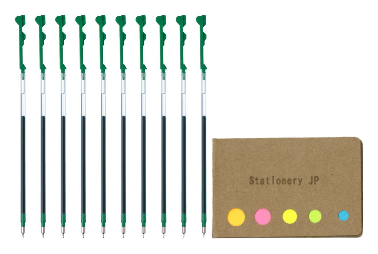 Pilot Hi-tec-c Coleto Gel Ink Pen Refill, 0.3mm, Green Ink, 10-pack, Sticky Notes Value Set