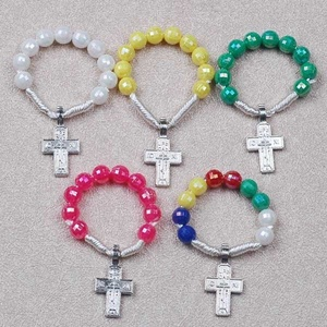 Plastic Rainbow Beads Finger Rosary Ring/Five Color Rosary Ring