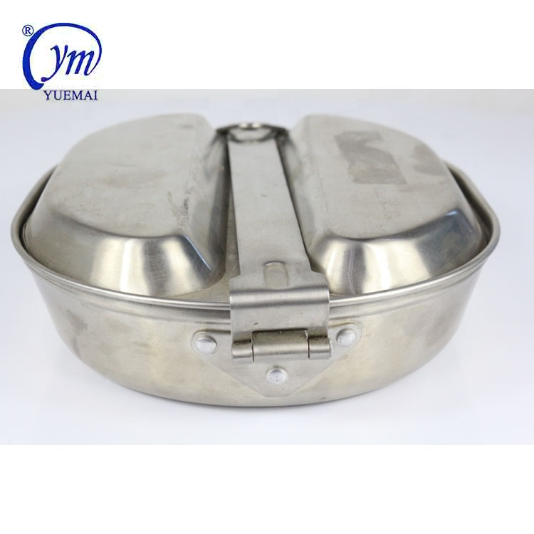 Portable military canteen heavy stainless steel mess tins
