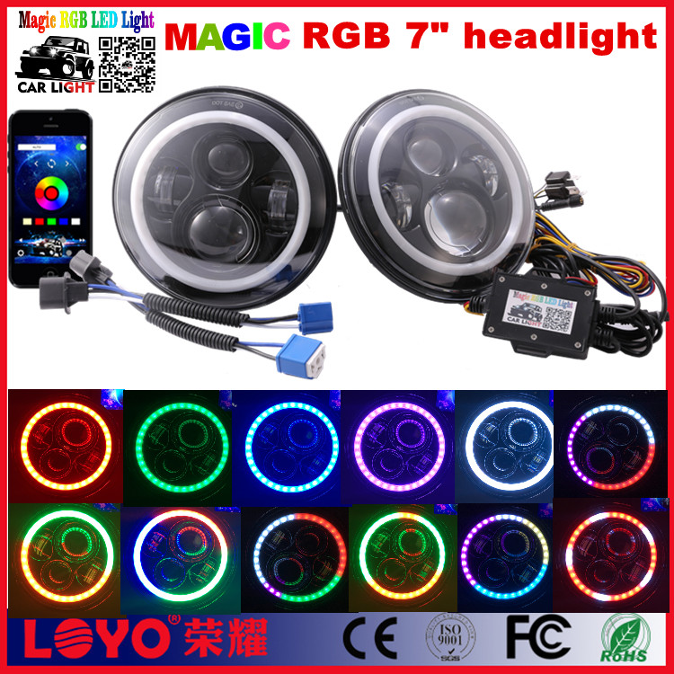 "Loyo RGB Color Changing Bluetooth 7"" round led Headlight for Jeep Wrangler JK TJ CJ"