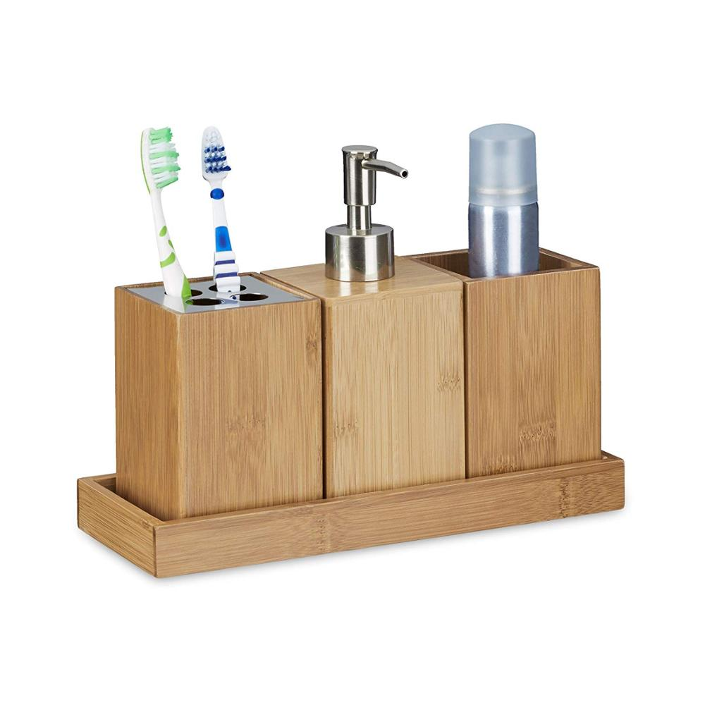 Massief Bamboe Hout Badkamer Accessoires Set Moderne made in china