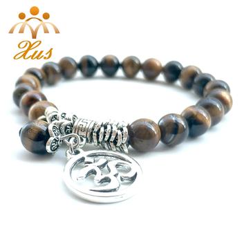 Br 12309 2 Mala Boho Jewelry Ohm Bracelet For Men Buddha Lotus Yoga Charm