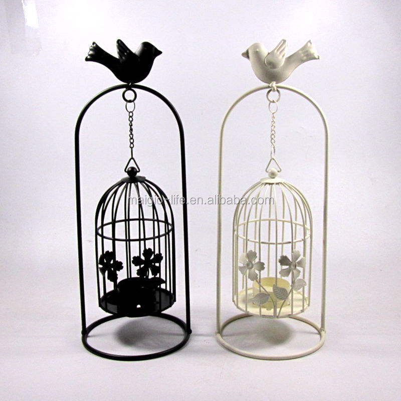 Dinner table decor Stand big bird cage hurricane candle holder