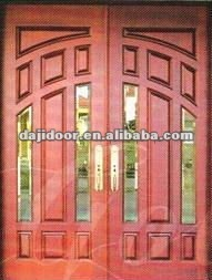Tempered Beveled Inlay Glass Doors Exterior DJ-S9958