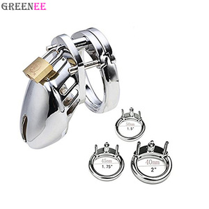 Chromed Plated Metal Male Chastity Device Belt Cock Cages Men's Lock Penis Ring Adult Games for Male Silver
